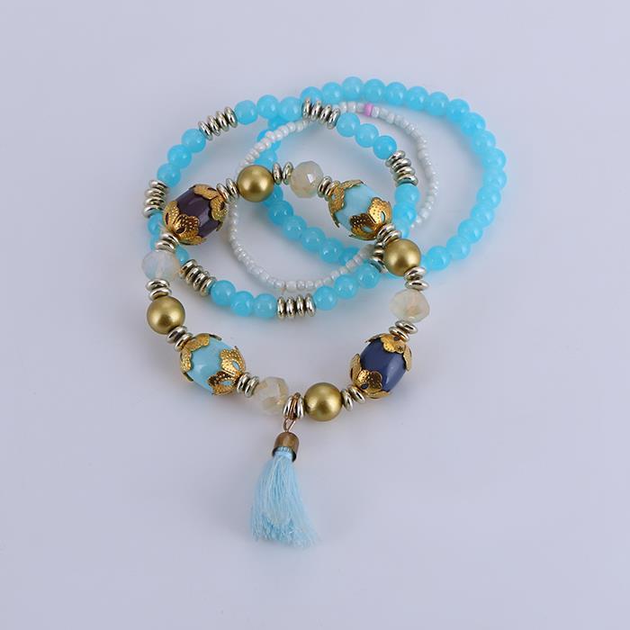 4pcs/set elegant bead tassel bracelet set.JPG
