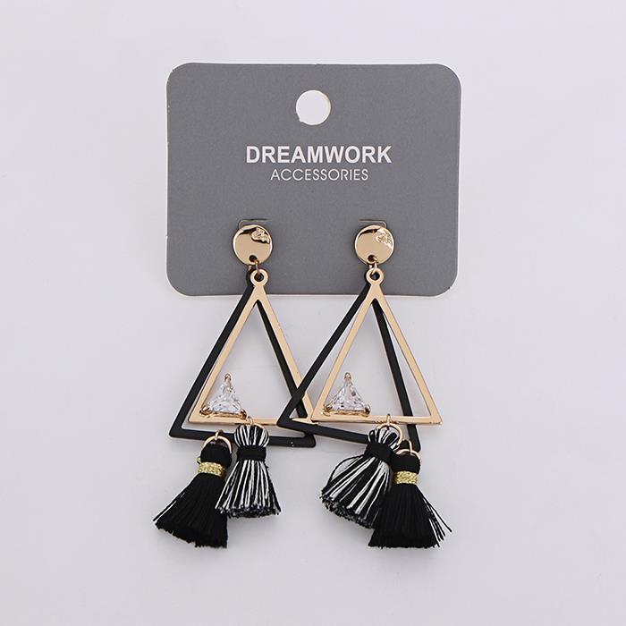 Trendy Triangle Dangle Tassel Stud Earrings For Women.jpg