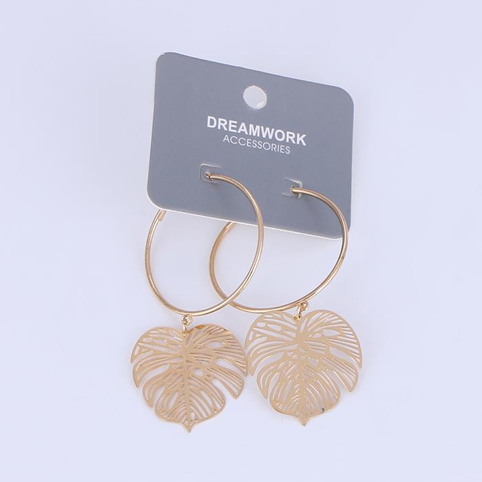Retro Hollow Metal Monstera Leaf Dangle Earrings.JPG