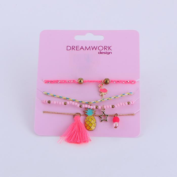 4pcs/Set Cute Handmade Bead Tassel Pineapple Pendant Rope Bracelet Set.jpg