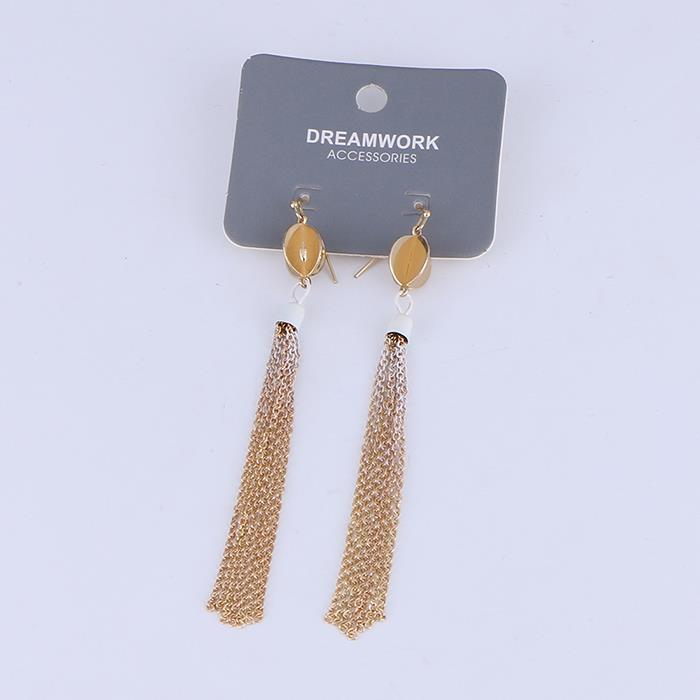 Elegant Gold Plated Long Tassel Box Chain Drop Dangle Earrings For Women.jpg