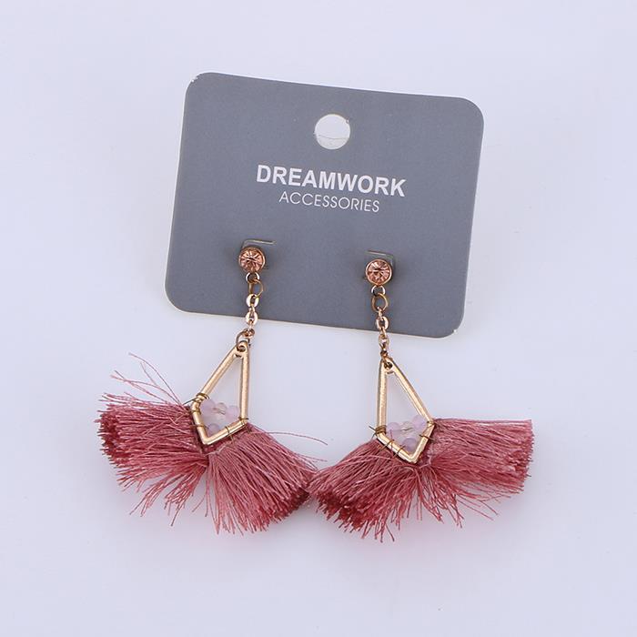Fashion Pink Line Tassel Earrings.JPG