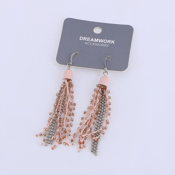 Fashion Pink Rice Beads Chain Tassel Earrings.JPG