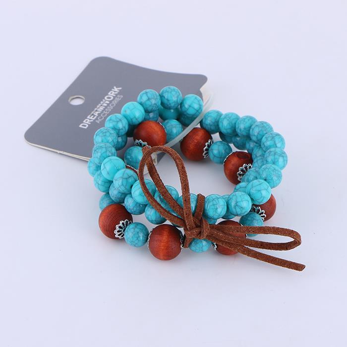3pcs/set detachable imitation turquoise wood bead bracelet .JPG