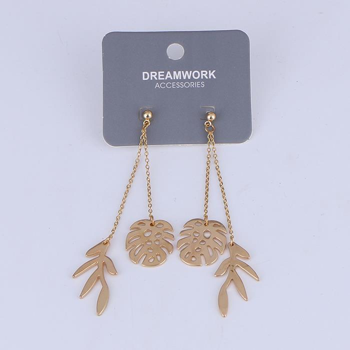 Personality temperament chain leaves earrings.jpg
