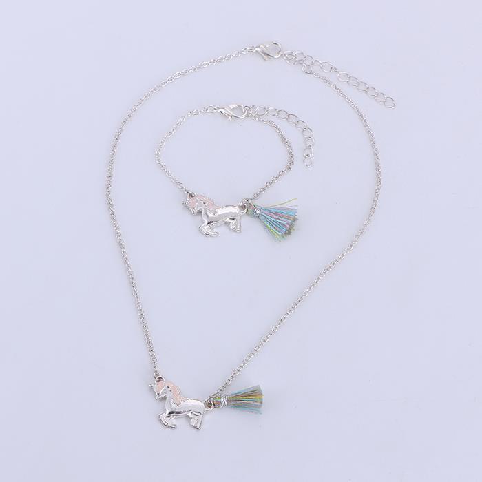 Simple Silver Plated Unicorn Tassel Pendant Necklace Bracelet Set.jpg