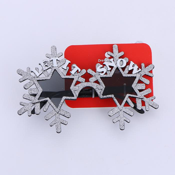 Novelty Glittered Christmas Decoration Fanci-Frames Party Accessory Grey Snowflake Eyeglasses.jpg