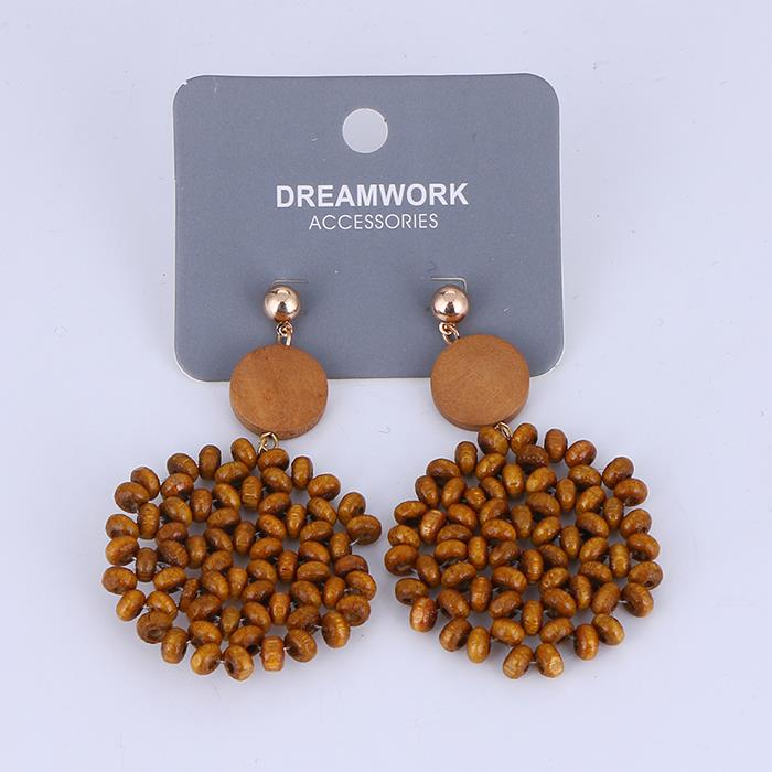 Temperament vintage wooden beaded earrings woven earrings.JPG