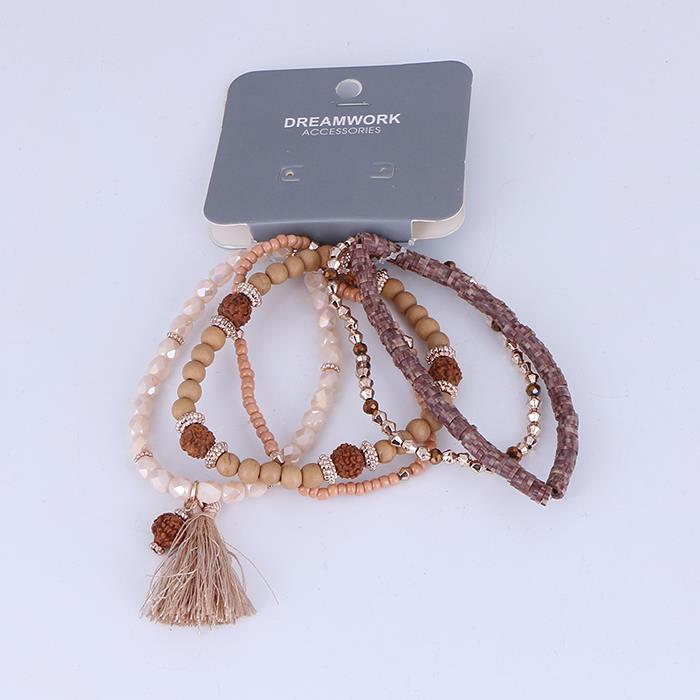 5pcs/set fashion natural beaded tassel elastic bracelet.JPG
