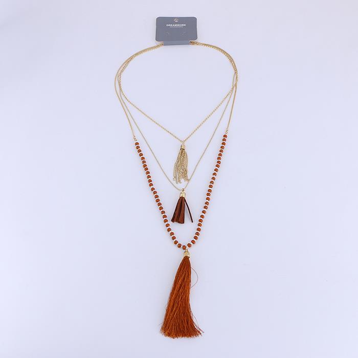 Gold three-tier tassel acrylic women's necklace.JPG