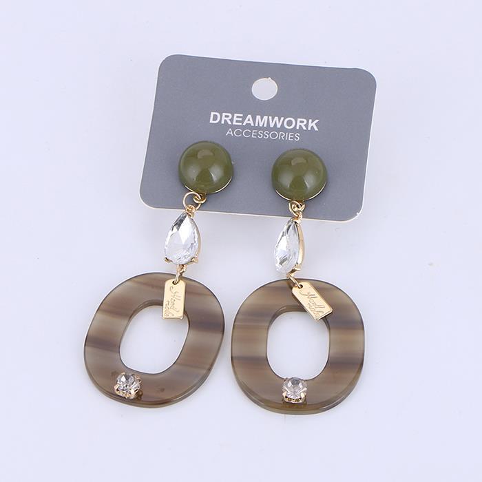 Charm Women Acrylic Drop Earrings Cellulose Acetate Earrings Oval Pendant Stud Earrings .jpg
