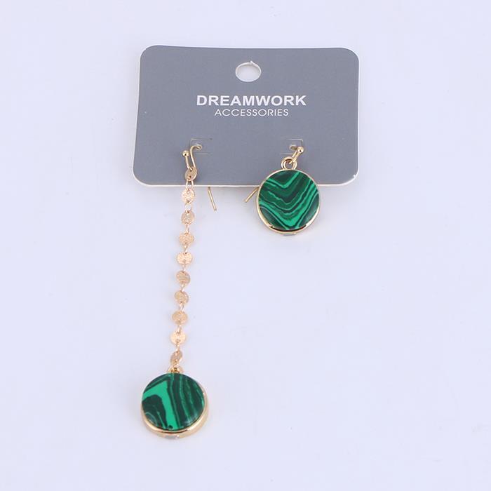 Elegant Asymmetric Malachite Drop Earrings For Women.jpg