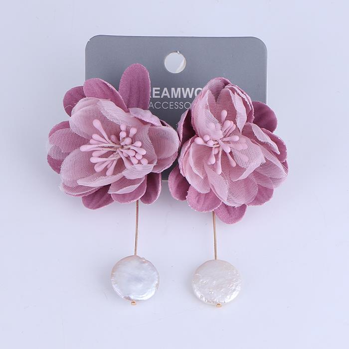 Temperament long pearl flower earring post dangle earrings.jpg