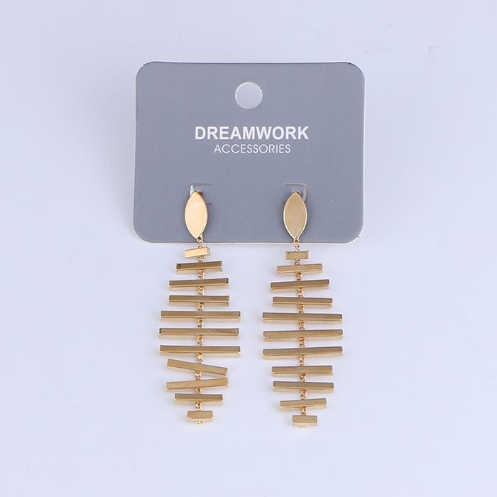 Unique water drop fashion fish bone gold dangle earrings.jpg