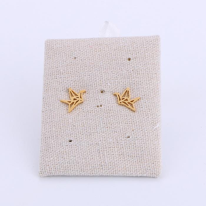 Minimalist Origami Crane Bird Gold Color Statement Stud Earrings.jpg