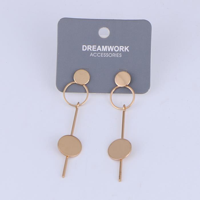 Charm Geometric Long Chain Bar Linear Hoop Tassel with Round Dangle Drop Earrings .jpg