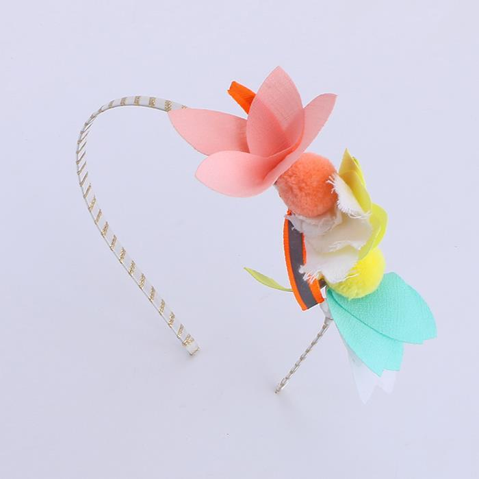 Cute chiffon flower hair ball fabric headband.jpg