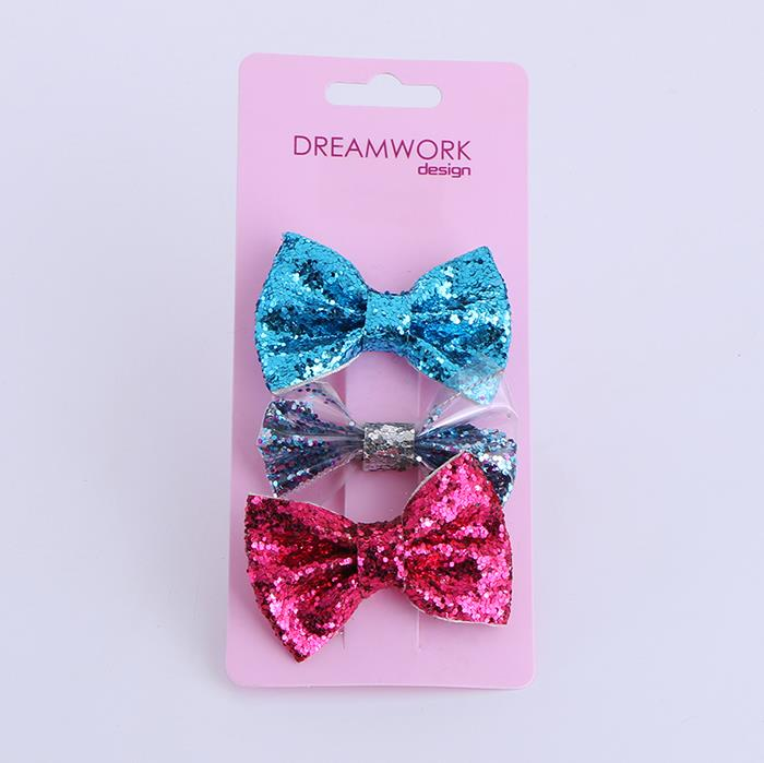 3pcs/set children's sequin bow bangs clip BB clip hair accessories.jpg