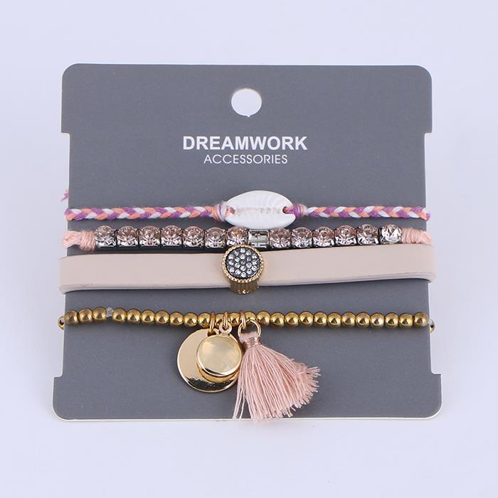 4 pcs/set tassel beaded woven adjustable bracelet set.JPG