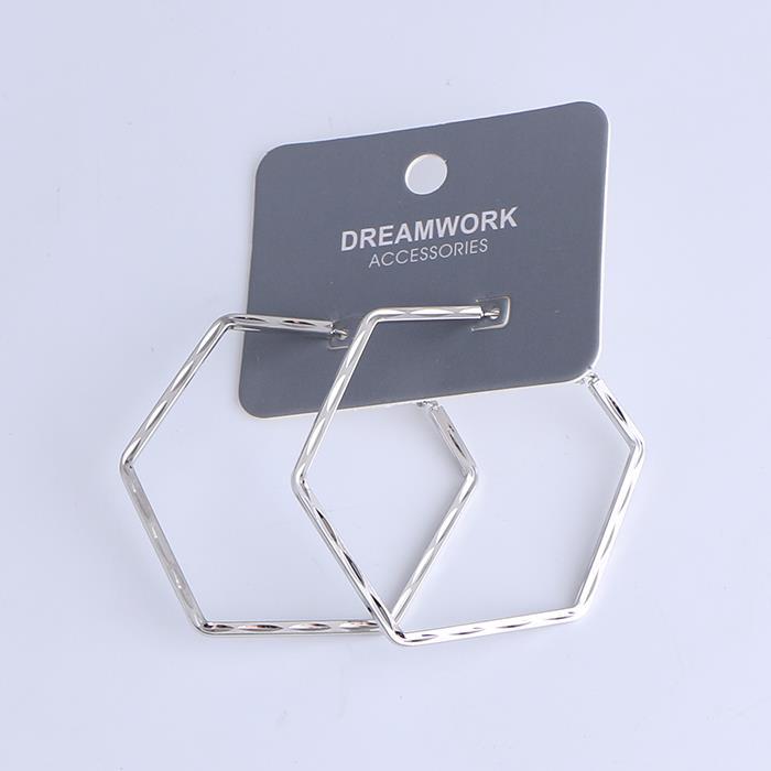Punk Geometry Regular Hexagon Hoop Earrings.JPG