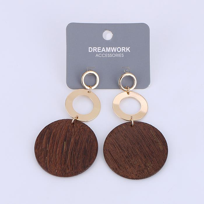 Vintage Round alloy wooden Wafer drop earrings.JPG
