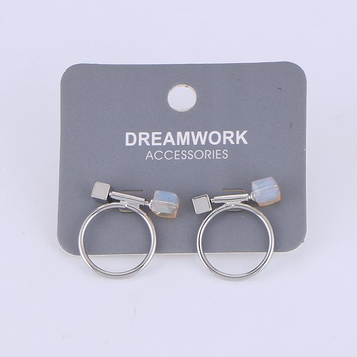 Simple Circle Stud Earring Glass crystal Charm Metal Circle Earring for Girls.jpg