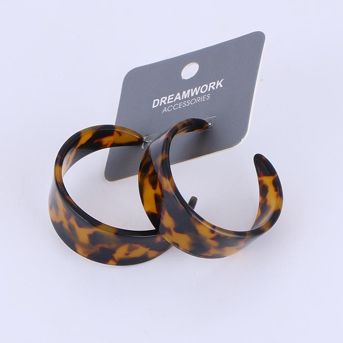 Trendy Open Wide Graduated Acrylic Hoop Earrings Bohemian Statement Resin Drop Earrings .jpg