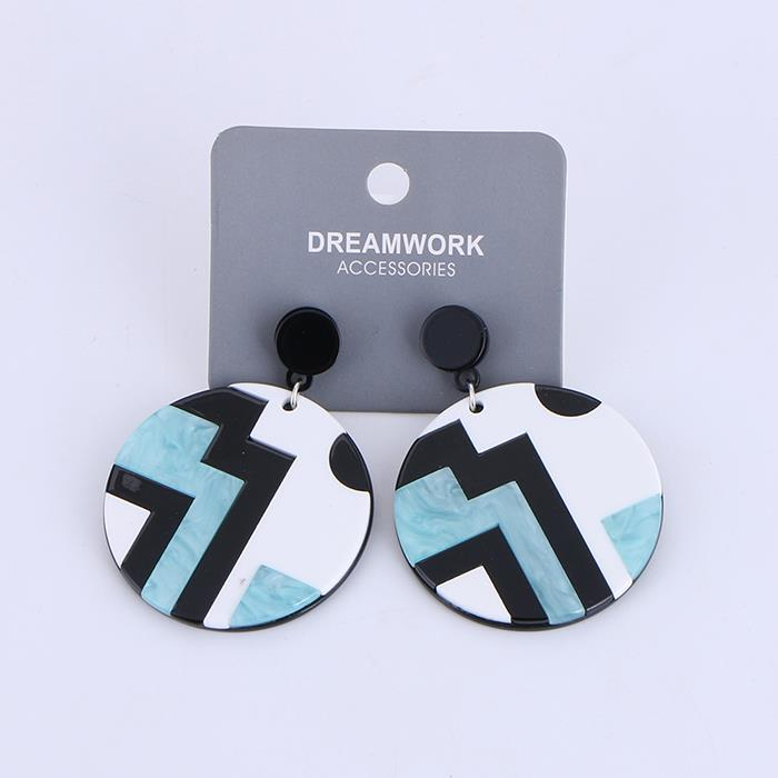 Literary round striped acetate plate stitching earrings for women .jpg