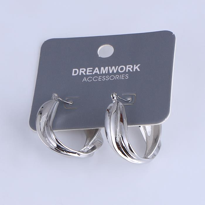 Simple silver twisted ring earrings for women .JPG