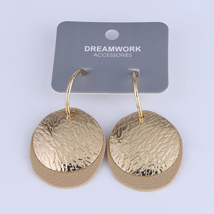 Fashion leather pattern metal piece C-shaped dangle earrings for women.JPG