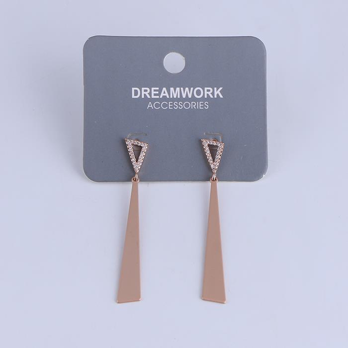 Punk Gold Plated Stainless Steel Statement Long Triangle Dangle Drop Earrings.JPG