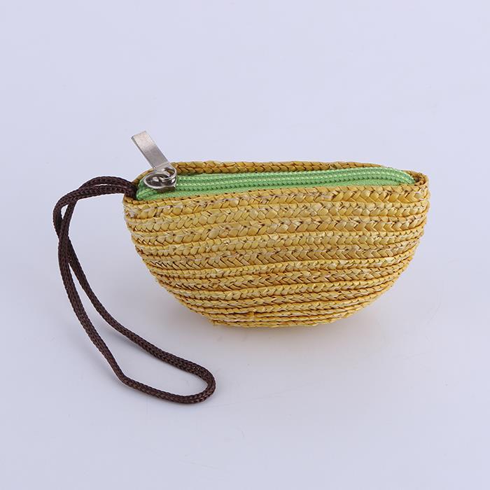 Cute women's straw weave beach coin purse.JPG