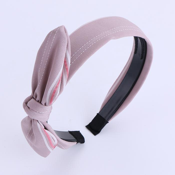 Cute Bow Plastic Headband With Plaid Fabric Pattern Rabbit Knot Hairband For Women Girls.JPG