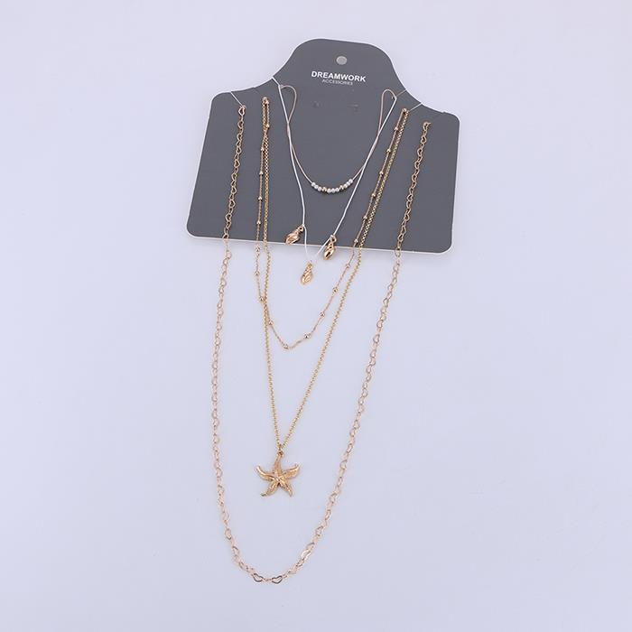 5 pcs/set starfish shell element gold multi-layer necklace for women.jpg