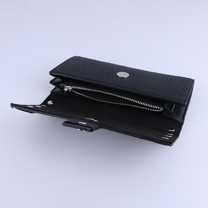 Neutral punk flat rivet black PU long wallet