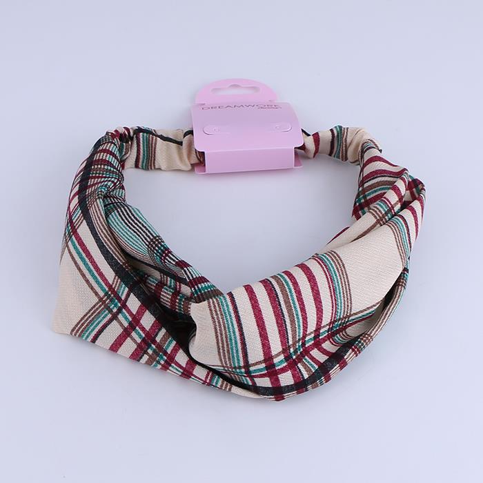 Fashion chiffon plaid wide elastic hair band for women and girls