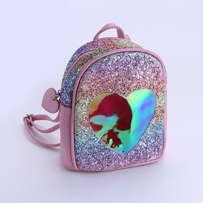 Colorful sequin heart-shaped mini backpack for women and girl