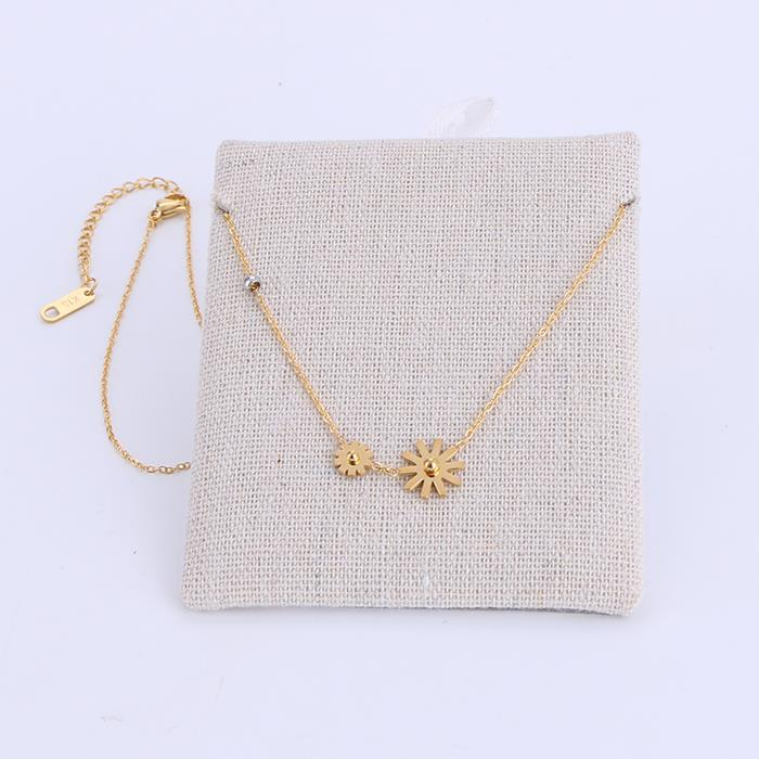 Glamour flower stainless steel women's gold necklace