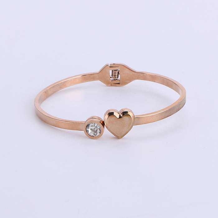 Charm Crystal Stainless Steel Bangle Bracelet Elegant Jewelry