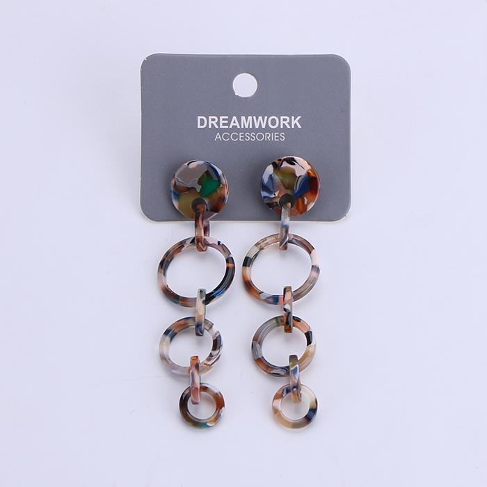 Trendy Geometric Resin Hoop Drop Statement Earrings for Women Fashion Jewelry