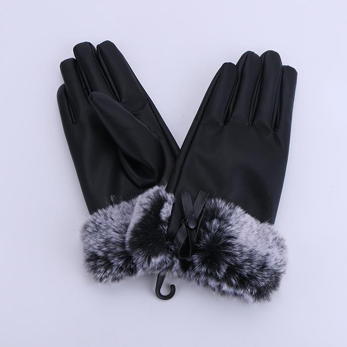 Classic Imitate Rabbit fur ladies leather gloves plus velvet cold winter gloves