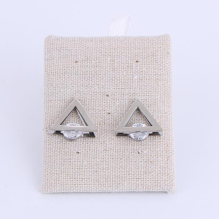 Double-sided stainless steel triangle clip zircon earrings for women and girl