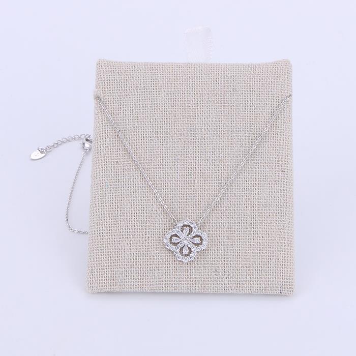 Charm Glittering Four Leaf Clover Pendant Necklace