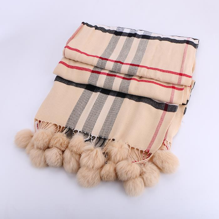 Autumn and winter fashion imitation cashmere plaid hair ball tassel thick scarf
