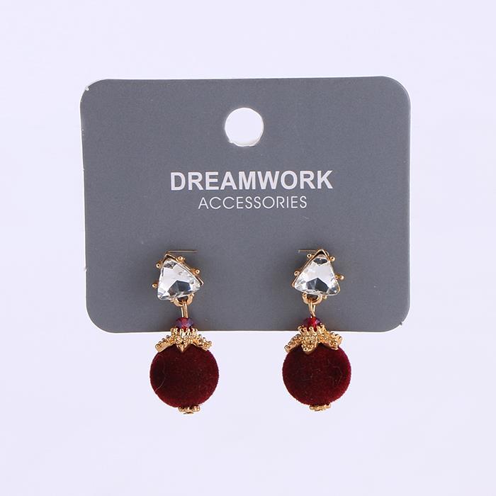 Temperament retro wine red hair ball earrings for women