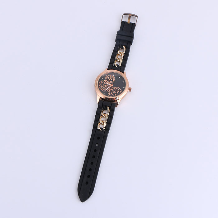 Fashion Diamond Rose Pattern Dial Black Silicone Strap Watch
