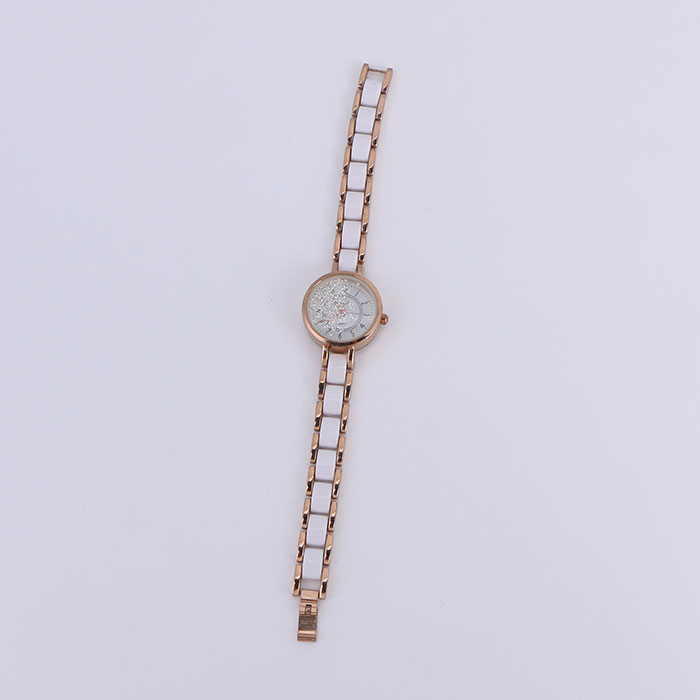 Fashion mobile zircon imitation ceramic strap quartz watch for women