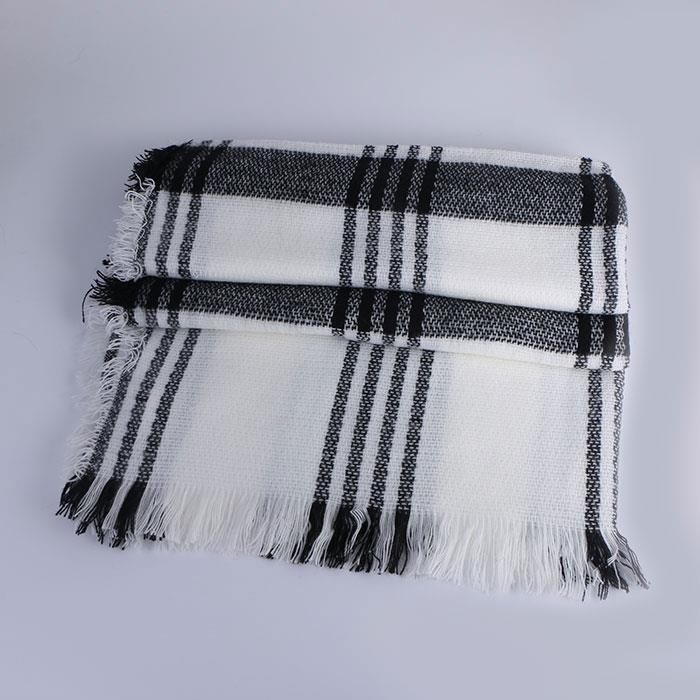 Warm Tassels Soft Plaid Tartan Scarf Winter Large Blanket Wrap Shawl White Stripe