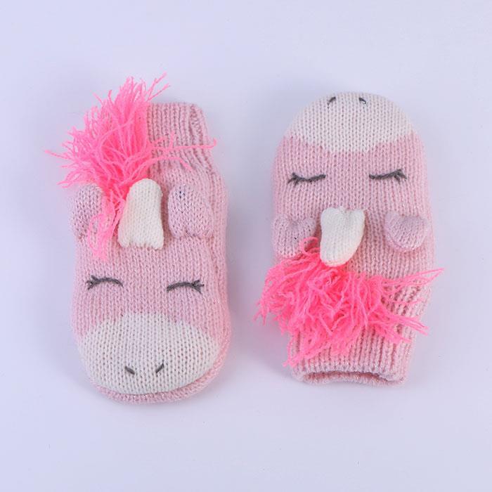 Cute children's pink unicorn gloves