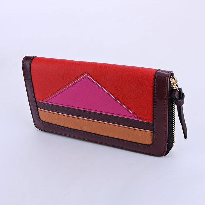 Women's fashion colorblock zipper long wallet